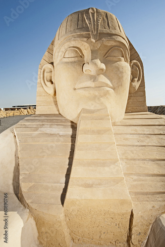 Large sand sculpture of the great egyptian sphinx