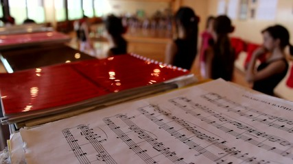 music sheet ,notes, ballet in background