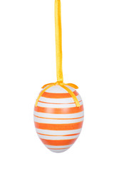 Orange Easter egg isolated on white background