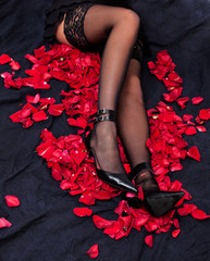 legs of woman against petals of red roses