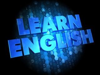 Learn English on Digital Background.