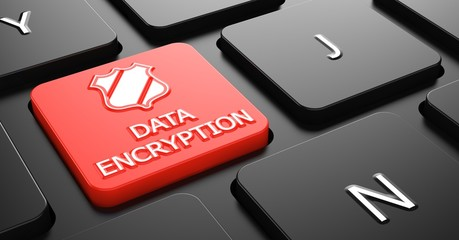 Data Encryption on Red Keyboard Button.