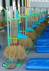 Cleaning set - brooms and dust pan
