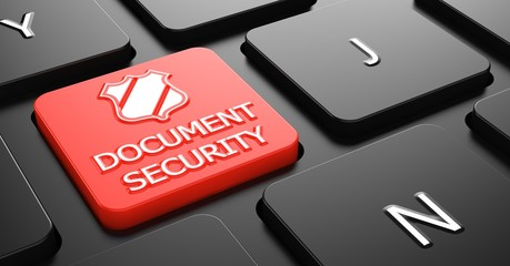 Document Security on Red Keyboard Button.