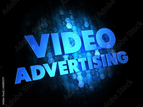 Video Advertising on Digital Background.