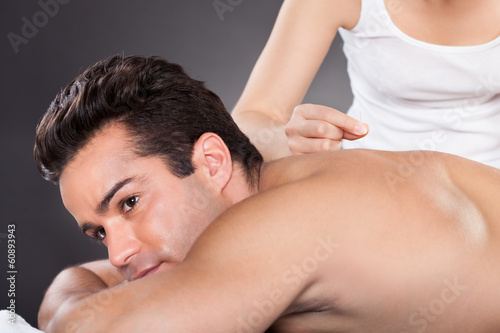 Man Getting Acupuncture Treatment