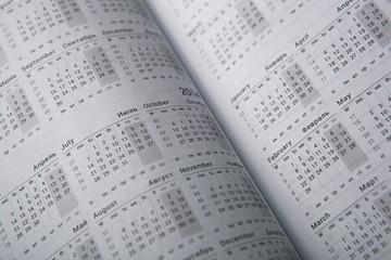 Calendar diary close-up
