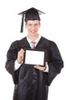 Man In Graduation Robe Showing Tablet Pc
