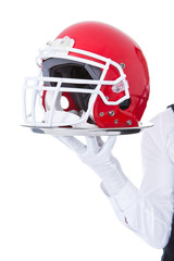 Waiter Carrying American Football Helmet