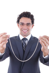 man gives a silver necklace as a gift