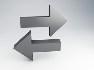 3d illustration of two arrows , choice concept
