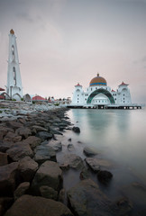 Malacca Strait Mosque in long exposure.