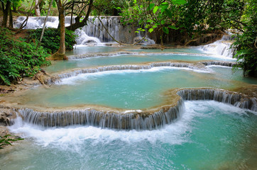 waterfall in deep forest in Luang Prabang, Lao