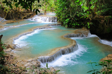 waterfall in forest in Luang Prabang, Lao