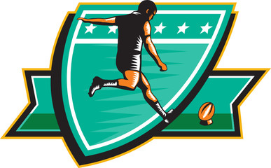 Rugby Player Kicking Ball Shield Retro