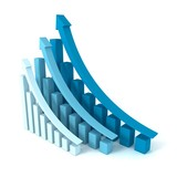 successful blue business graphs rising up grow arrows