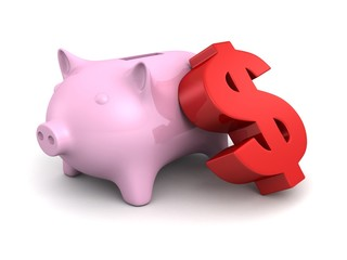 piggy money bank with big red dollar currency symbol