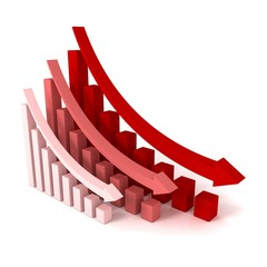 Red Crisis Business Graphs with Falling Arrows