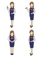 紺色の制服の女性社員 四種類のポーズと仕草