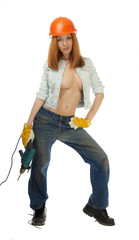 Girl with large breasts with an electric drill.