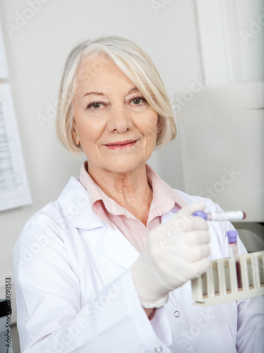 Scientist Analyzing Blood Sample In Laboratory