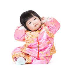 Baby have funny posture with traditional china costume