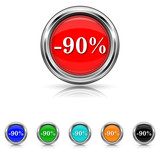 90 percent discount icon - six colours set
