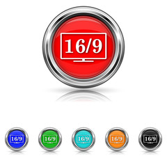 16 9 TV icon - six colours set