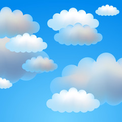 Blue vector background of sky with clouds