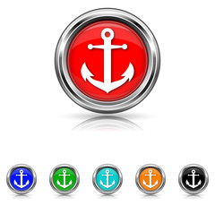 Anchor icon - six colours set