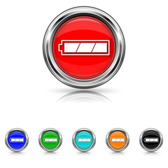 Fully charged battery icon - six colours set