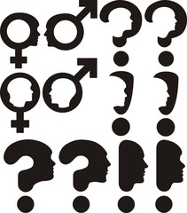 gender - exclamation mark, question mark,