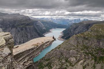 On the edge. Trolltunga, Norway.