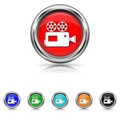 Video camera icon - six colours set