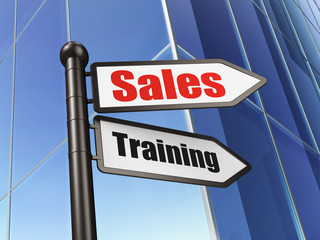 Marketing concept: sign Sales Training on Building background