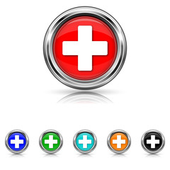 Medical cross icon - six colours set