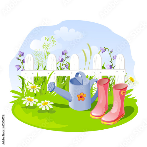 small garden and accessories. vector illustration
