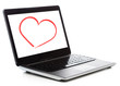 laptop computer with heart on white screen