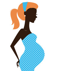 Beautiful pregnant woman silhouette isolated on white