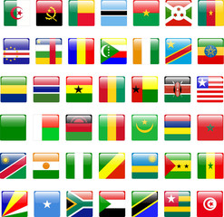buttons of african flags - vector