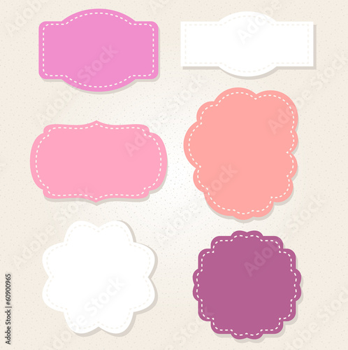 Cute Vintage labels set in pastel colors