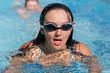 Woman swimming towards the camera