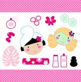 Fototapety Cute spa set elements with beautiful girls ( pink )