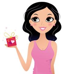 Happy Girl holding gift box isolated on white