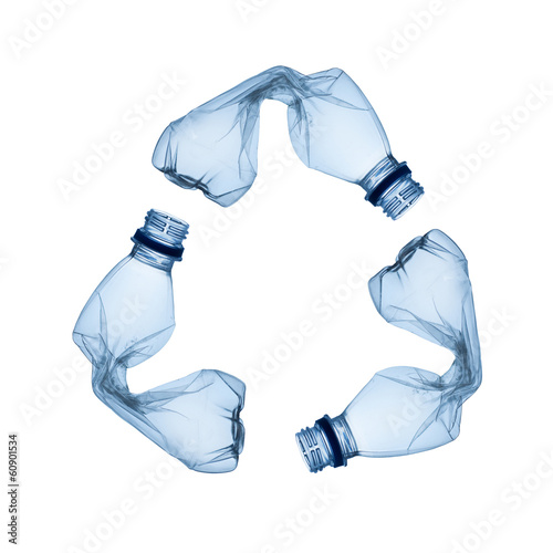 Foto Spatwand Water Concept of recycle.Empty used plastic bottle on white background