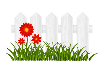 Wooden fence with red flowers
