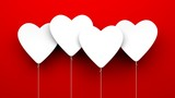Heart Balloons on red background
