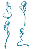 vector collection of water girl's silhouette