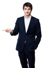businessman pointing with pen on white background