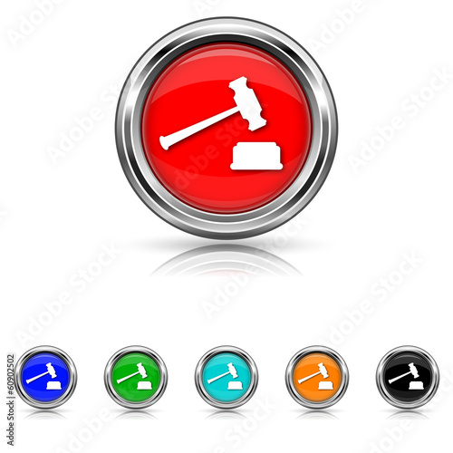 Judge hammer icon - six colours set